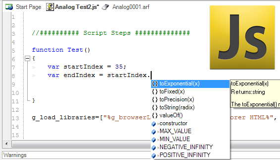 The JavaScript Editor and Debugger options allow you to execute and debug your script easily.