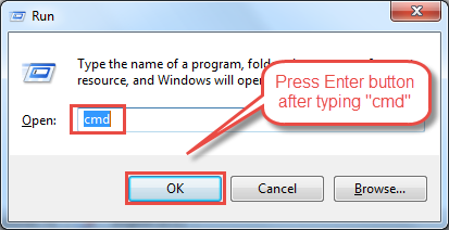 "Press ""Windows + R"" button and type 'cmd' in the box."