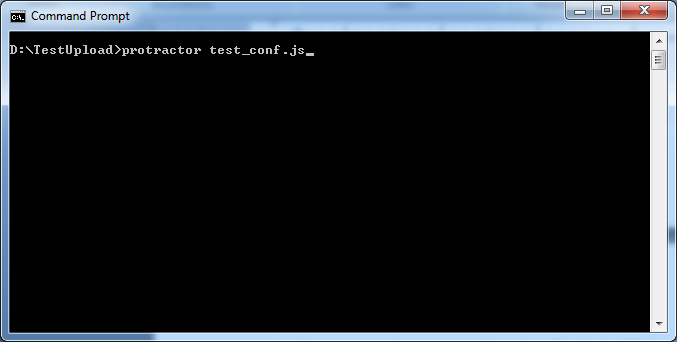 Open command prompt to go to the 'TestUpload' folder and run the following command: protractor test_conf.js