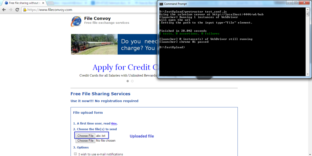 Once you run the test, you can see the uploaded file as shown below.