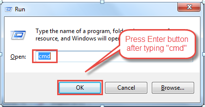 "Press ""Windows + R"" and type 'cmd'. Click OK."