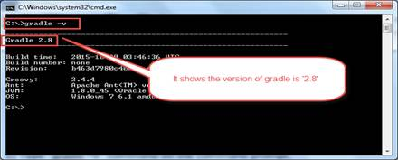 Now the screen displays the version of the Gradle. This means that the Gradle is successfully configured on the given Windows machine.