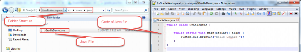 open Notepad++ and write the Java code as shown in the below image.