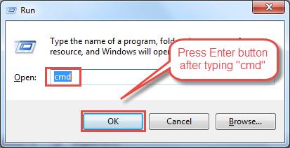 "Press ""Windows + R"" button and type 'cmd' as shown below."