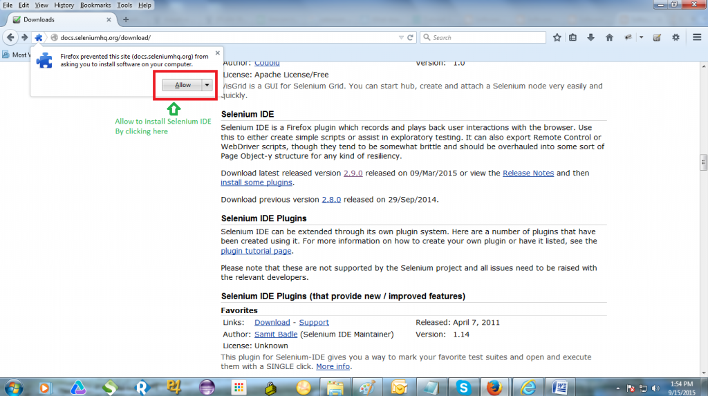 Click the 'Allow' button to allow Mozilla Firefox to install Selenium IDE.