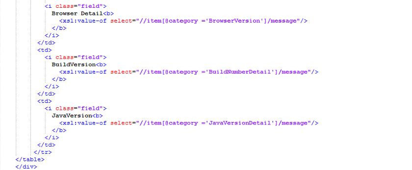 add the below XSLT language code in '.xsl' file.