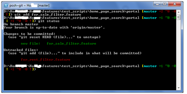 Type 'git status' in the Git Shell and you will see the added files appearing in green color.