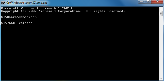 You can check whether ANT is successfully installed by running the following command into the command prompt: ant –version