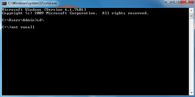 run the following command on the command prompt: ant runall