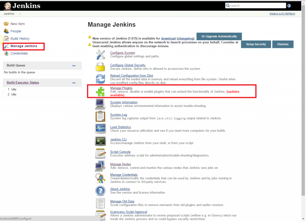 Click the 'Manage Jenkins' menu option