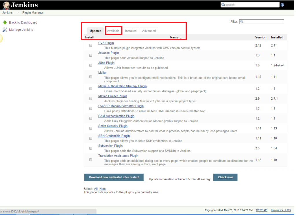Click the 'Available' tab present at the top of the 'Manage Plugin' page.