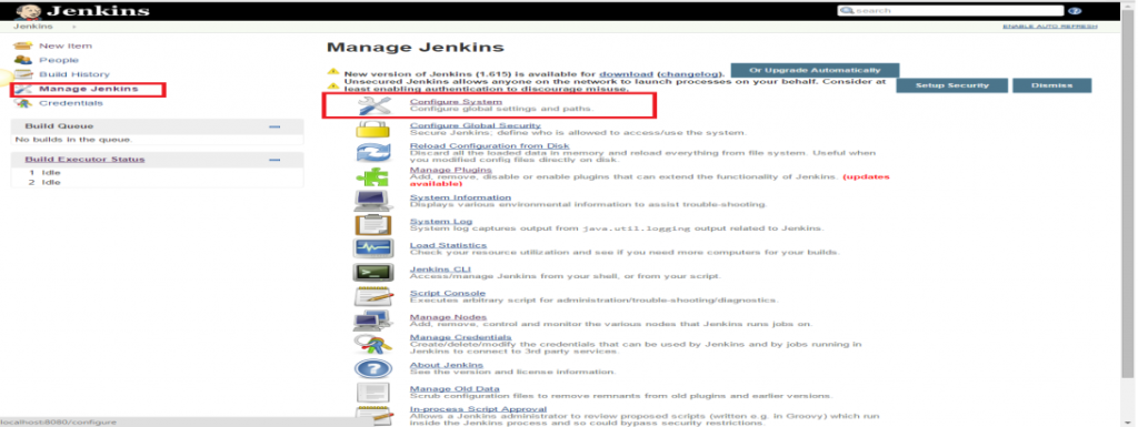 Go to the Jenkins home page and click the 'Manage Jenkins' menu option