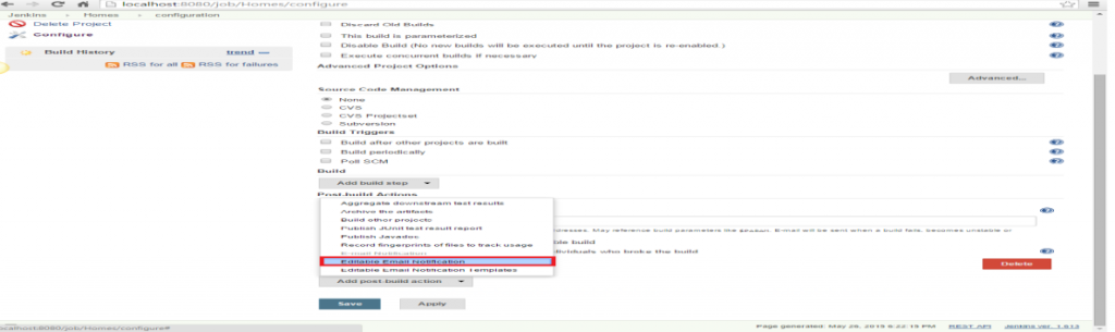 Click the 'Add post-build action' drop-down and select the 'Editable Email Notification' value.