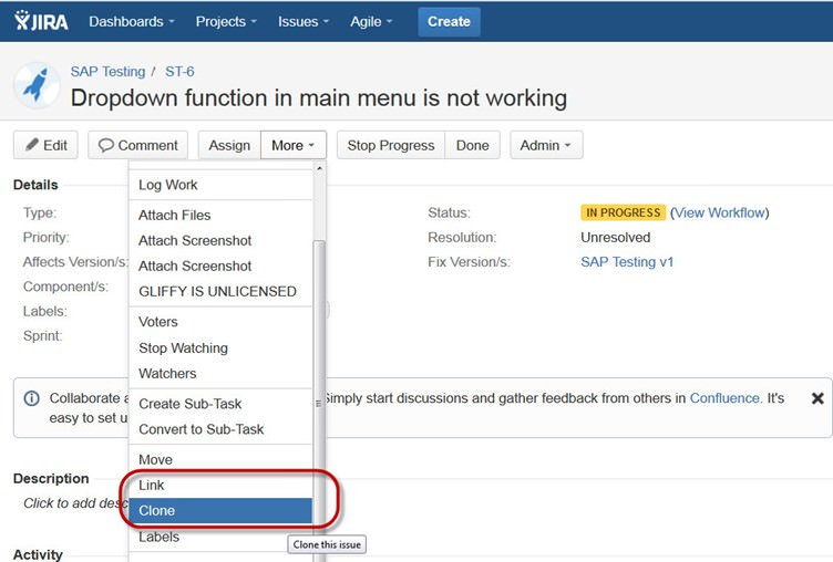 How To Clone An Issue And Link It With An Existing Issue